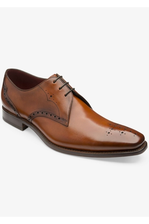 LOAKE HANNIBAL CHESTNUT Calf Punched Derby Shoes