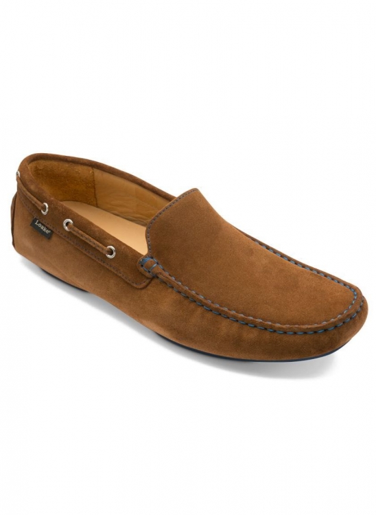 LOAKE DONINGTON TAN SUEDE DRIVING SHOES