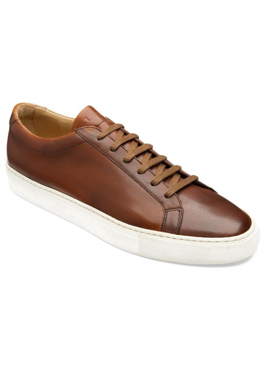 LOAKE SPRINT CHESTNUT LEATHER CUP SOLE SNEAKERS