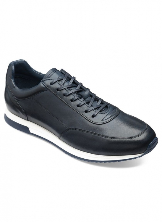 LOAKE BANNISTER NAVY LEATHER TRAINERS